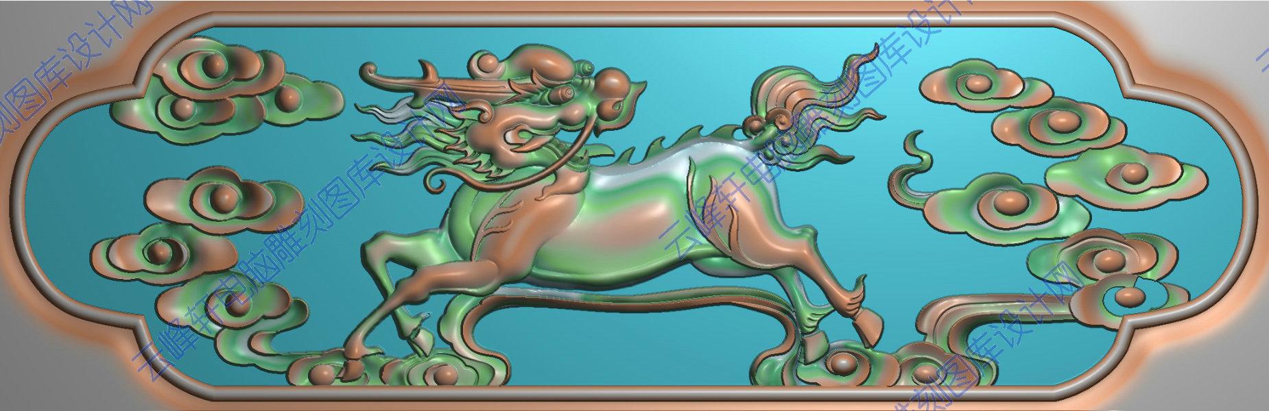 麒麟4-精雕图,jpd图,浮雕图,云峰轩雕刻图库网