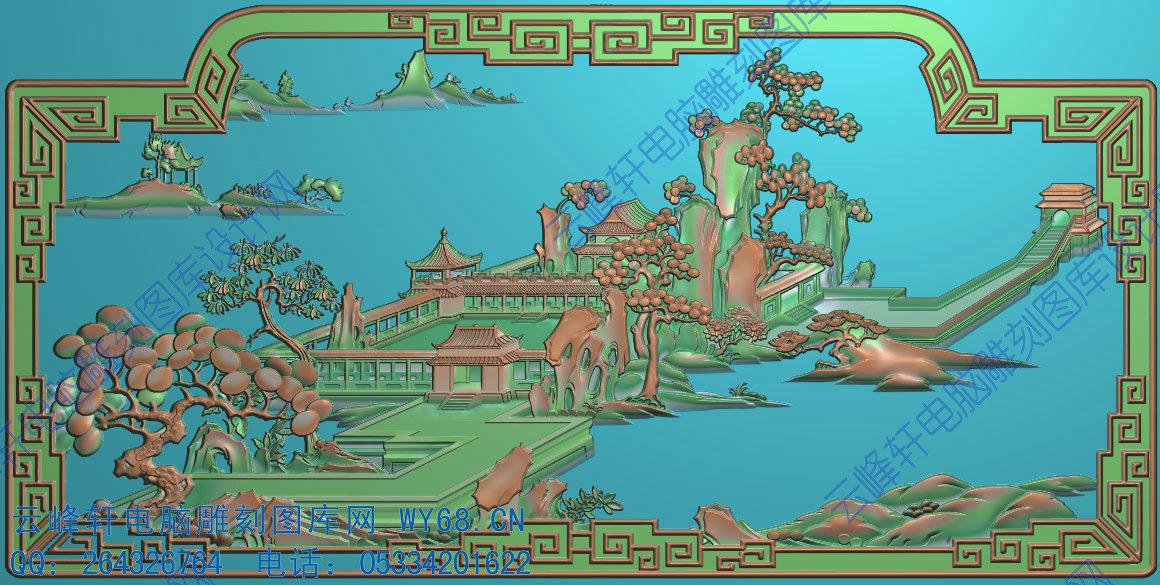 山水风景扶手 - 云峰轩雕刻图库网
