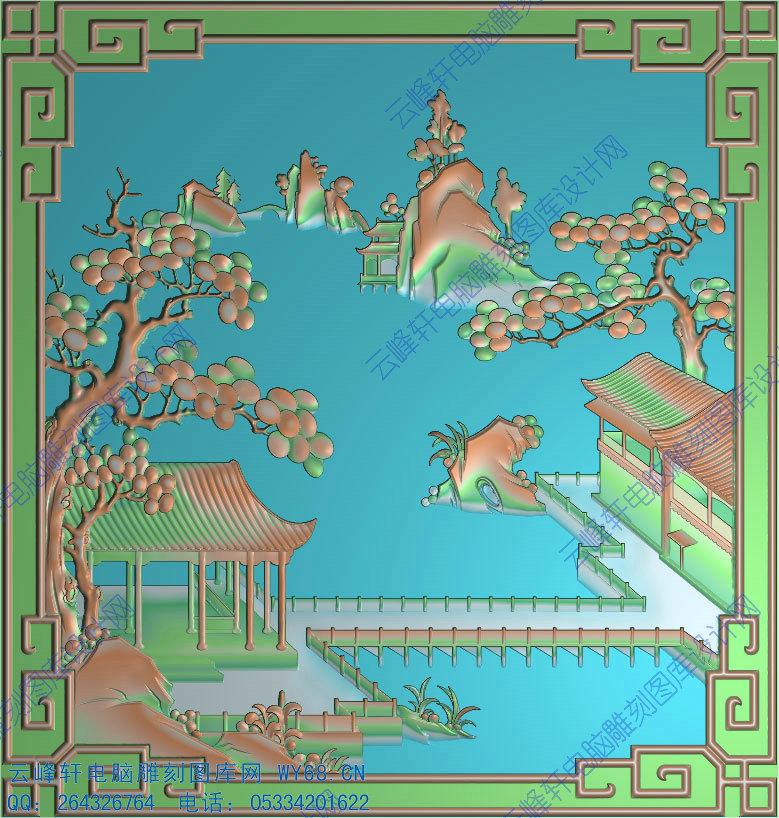 3d,精雕图,玉石家具雕刻图系列 山水风景  本页编号:27805 图案类形