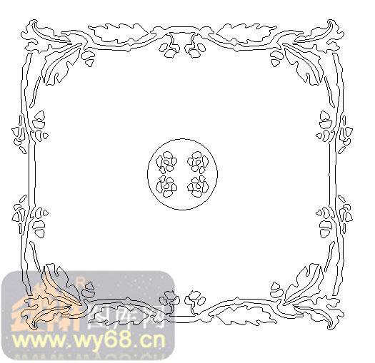 19天花-花藤边框-00054-玻璃雕刻
