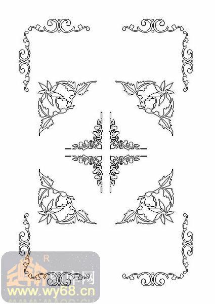19天花-花藤边框-00001-雕刻玻璃