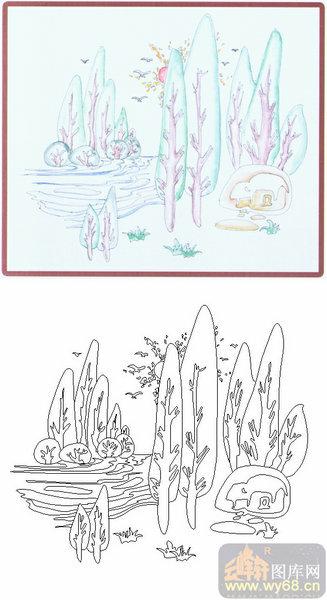 26艺术装饰-风景-00013-雕刻玻璃图案