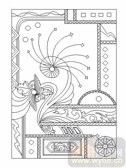 喷砂玻璃-04装饰屏风-抽象图案-00019