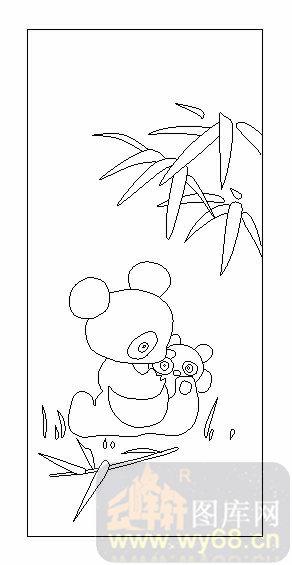 雕刻玻璃-02卡通-熊猫竹子-00042
