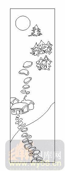 艺术玻璃图库-02卡通-乡间小屋-00046
