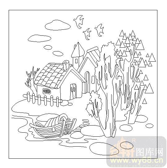 喷砂玻璃图库-04装饰屏风-农家小院-00086