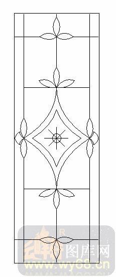 雕刻玻璃图案-09装饰几何门心-花卉花纹-00020