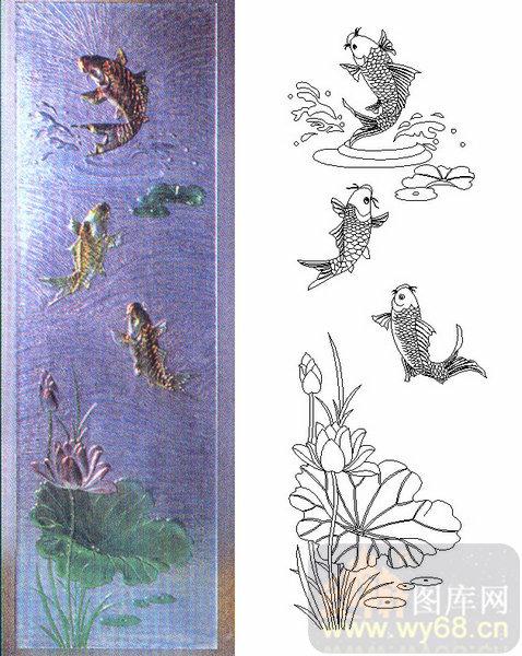 喷砂玻璃-肌理雕刻系列2-鲤鱼-00002