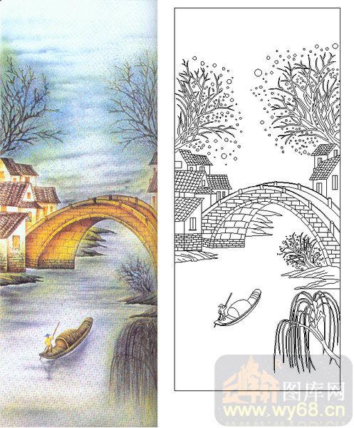 雕刻玻璃-肌理雕刻系列2-拱形桥-00018