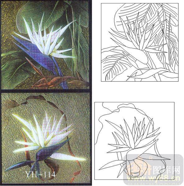 喷砂玻璃图库-肌理雕刻系列1-艺术花-00114 - 云峰轩