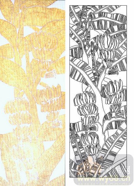 喷砂玻璃-肌理雕刻系列1-棕榈-00192