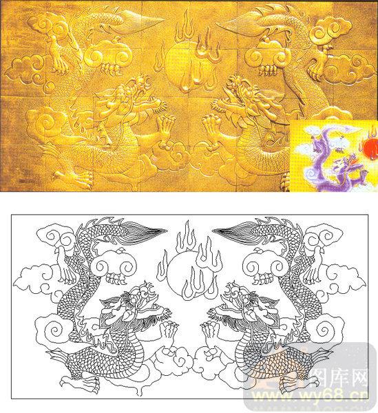 04肌理雕刻系列样图-双龙戏珠-00205-艺术玻璃图库
