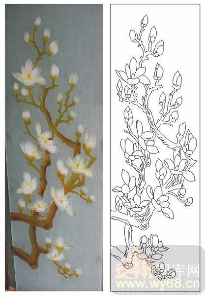 2011设计艺术玻璃刻绘-白玉兰花-艺术玻璃