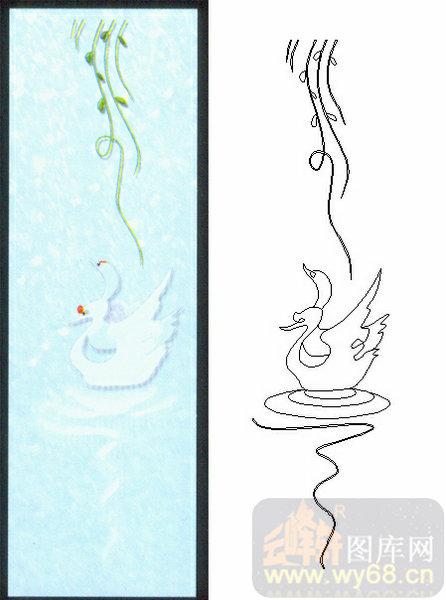 02装饰门-2-天鹅游水-00176-喷砂玻璃图库