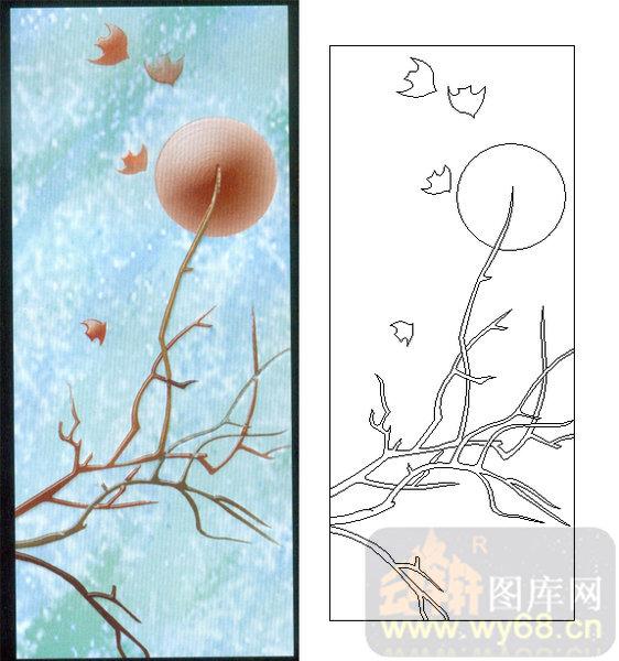 06装饰花草鱼鸟-2-枯树-00193-玻璃雕刻