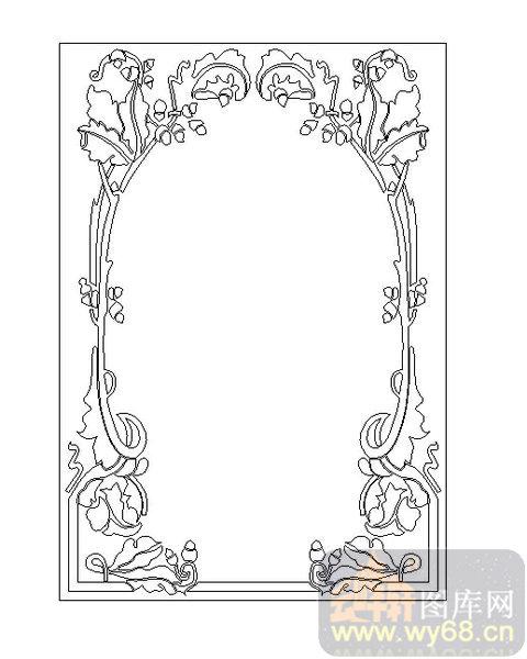 19车边镜-花藤边框-00039-艺术玻璃图库