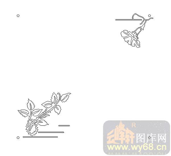 19车边镜-艺术花藤-00167-雕刻玻璃