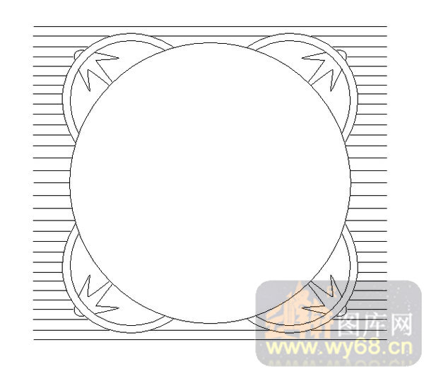 19车边镜-圆形边框-00212-雕刻玻璃