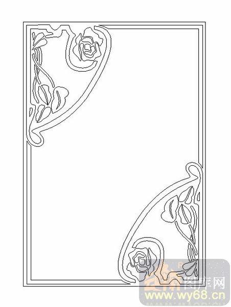 19车边镜-花藤边框-00215-雕刻玻璃