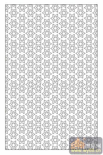 欧式抽象几何-星星花纹-00060-玻璃门