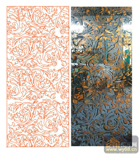 欧式抽象几何-金色花藤-00085-艺术玻璃
