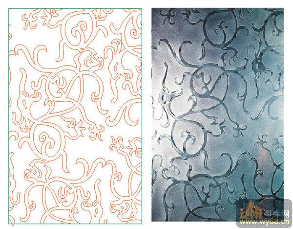 欧式抽象几何-欧式花藤-00082-玻璃雕刻