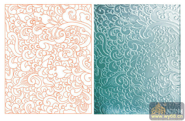 欧式抽象几何-传统花纹-00073-雕刻玻璃图案