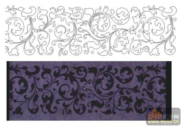 欧式抽象几何-欧式花藤-00014-玻璃雕刻图