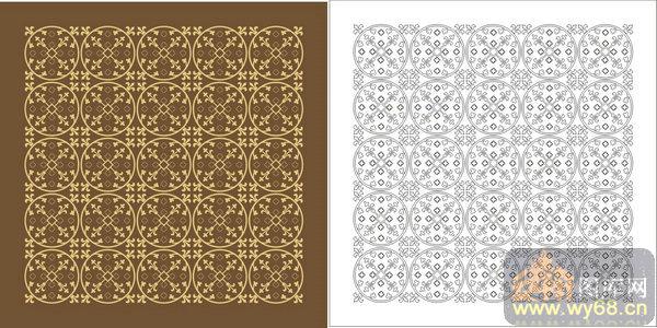 古代花纹剪纸半圆