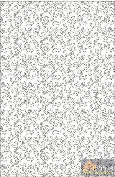 欧式抽象几何-绿叶花纹-00326-喷砂玻璃