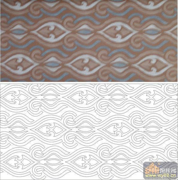 欧式抽象几何-简约花纹-00248-雕刻玻璃图案