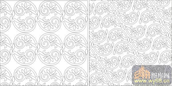 欧式抽象几何-典雅花纹-00382-艺术玻璃