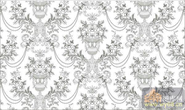 欧式抽象几何-月季花-00374-装饰玻璃