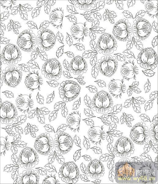 欧式抽象几何-艺术花卉-00371-装饰玻璃