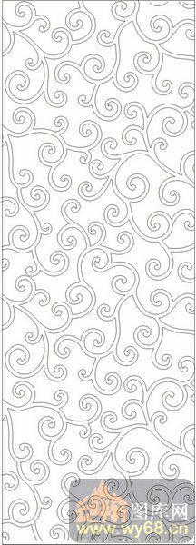 欧式抽象几何-简约花藤-00385-艺术玻璃