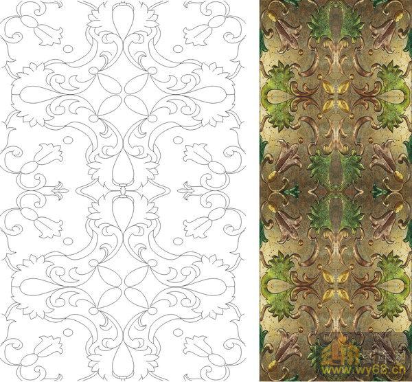 下载20次 欧式抽象几何-优雅花纹-00378-艺术玻璃