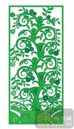 q001-0036-绿色花藤-00007-雕刻玻璃图案