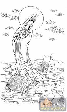 观音-白描图-117圣坐观音-观音菩萨国画白描-线描图