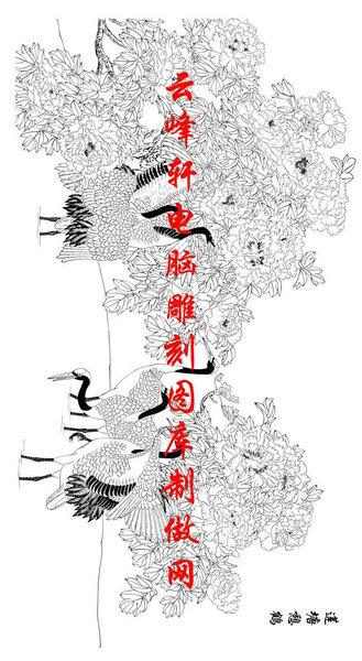 长卷鹤-白描图-天香迎鹤舞-仙鹤白描线描图