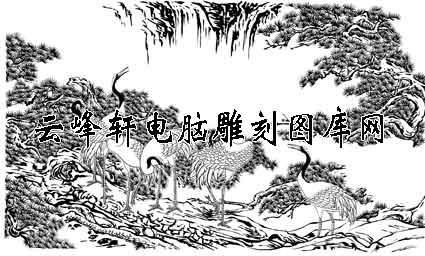 白描仙鹤-白描图-松鹤延年-22-仙鹤雕刻图案
