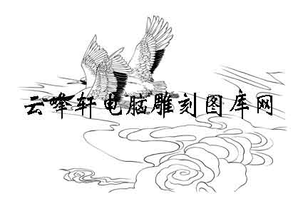 白描仙鹤画,白描仙鹤矢量图,电脑雕刻图案,电脑; 鹤白描图案,鹤线描