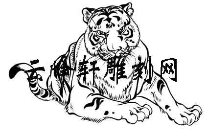 虎3-白描图-燕颔虎头-133-老虎雕刻图案