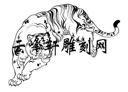 虎3-白描图-龙拏虎跳-121-老虎线描图