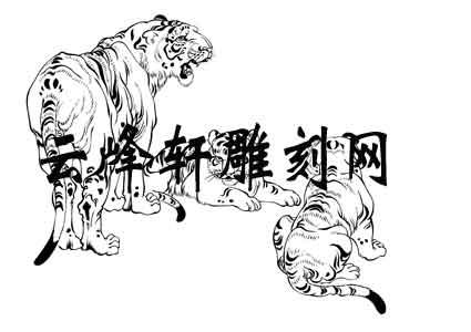 虎2-白描图-群虎-72-老虎白描图