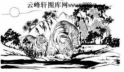 虎第五版-白描图-山中虎-1-老虎雕刻图片
