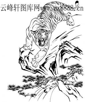 虎第四版-白描图-下山猛虎-18-老虎雕刻图案