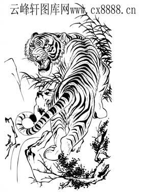 虎第五版-白描图-燕颔虎头-21-老虎雕刻图案