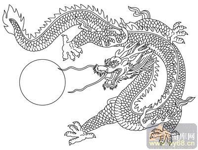 龙素描图片简单-龙 白描图 龙戏珠 long2 传统龙图案图片