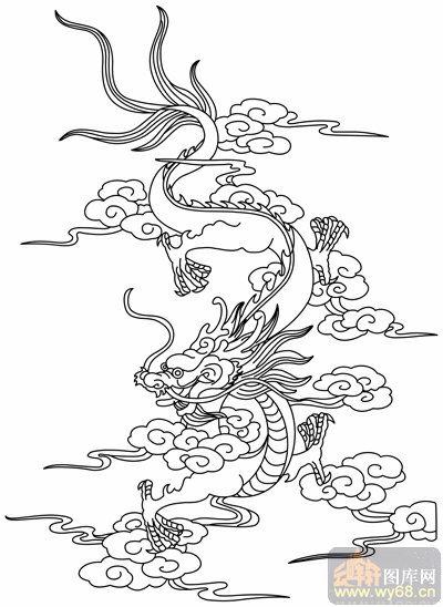 龙-白描图-风虎云龙-long104-白描龙图