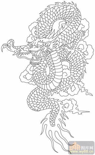 龙-白描图-飞龙在天-long123-白描龙画